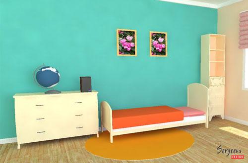 Мятный цвет в детской комнате | визуализация | цвет стен для детской | советы дизайнера | sergeevadesign.ru