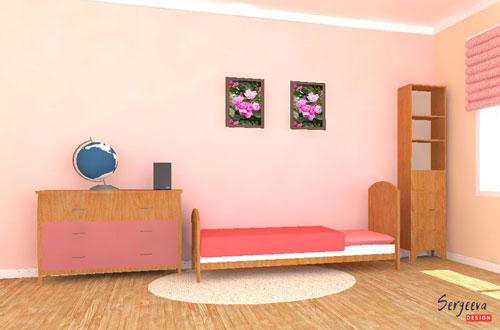 Цвет пудра в детской комнате | визуализация | цвет стен для детской | советы дизайнера | sergeevadesign.ru