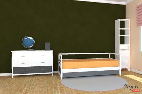 Темно-зеленая меловая доска в детской комнате | визуализация | цвет стен для детской | советы дизайнера | sergeevadesign.ru