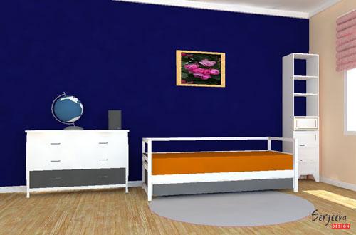Темно-синяя меловая доска в детской комнате | визуализация | цвет стен для детской | советы дизайнера | sergeevadesign.ru
