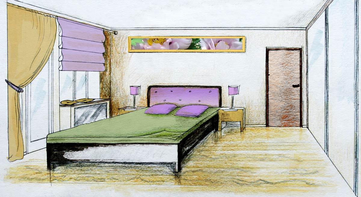 Эскиз спальни после работ