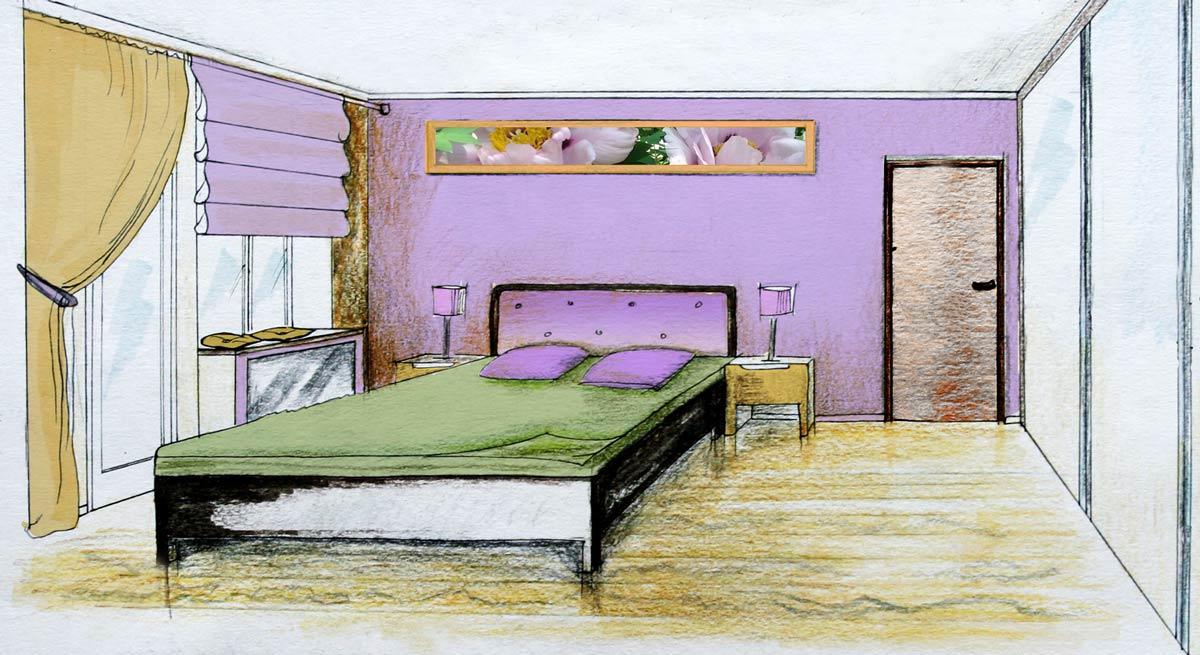 Эскиз спальни после